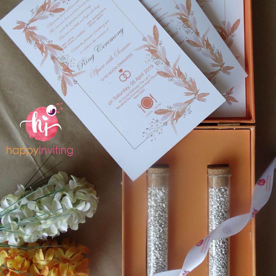 White & Peach Boxed Wedding Invitation