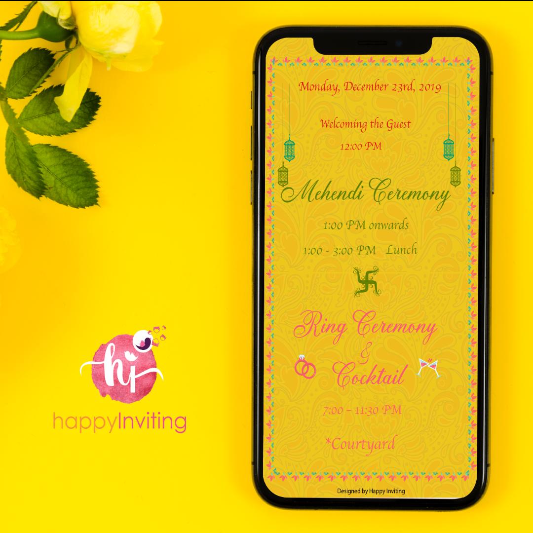 Unique Mehendi Invitation Card