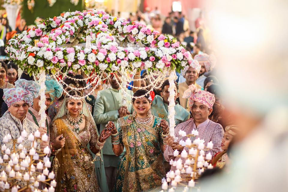 Bridal Entry with Family under Grand Phoolon ki Chaadar