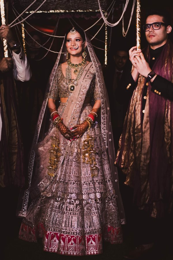 Bridal Solo Picture Entry Under Phoolon Ki Chaadar