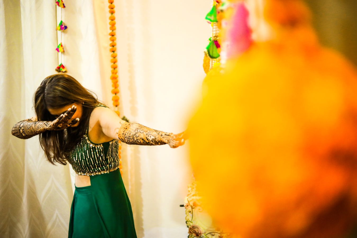 Bride to Be Dabbing Picture in Mehendi Ceremony