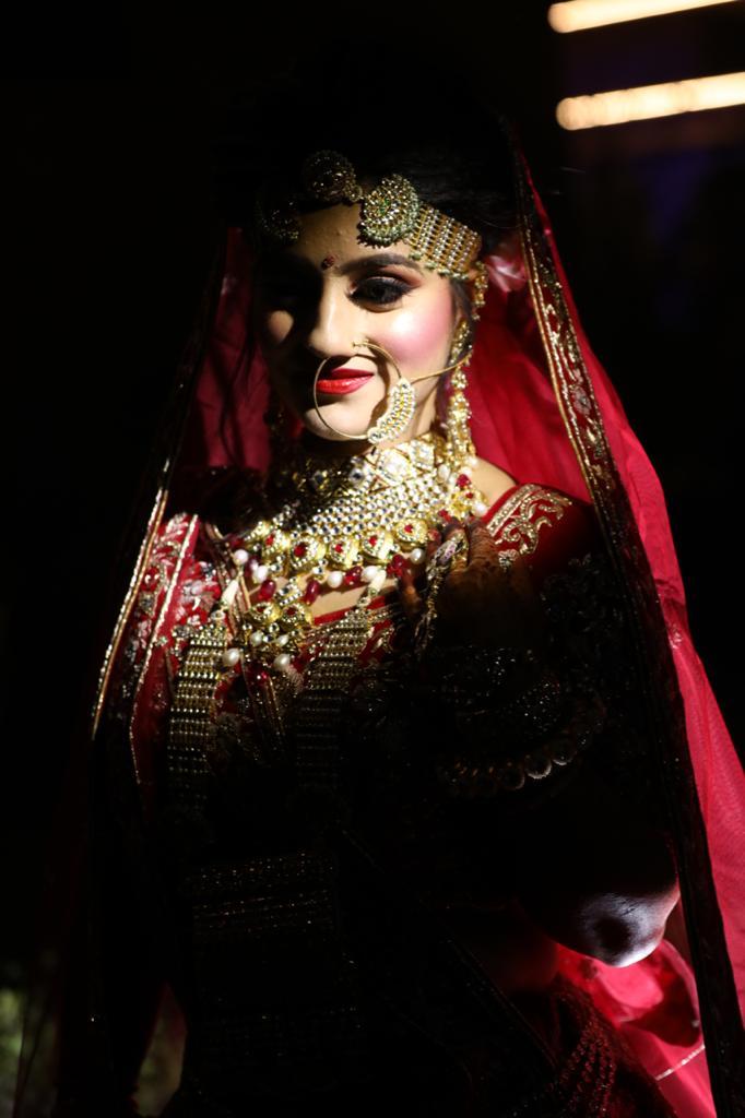 Lovely Indian Bride in Red lehenga