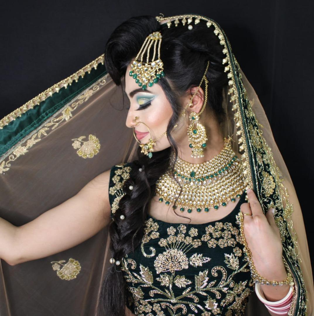 Glam Makeup with Green Bridal lehenga