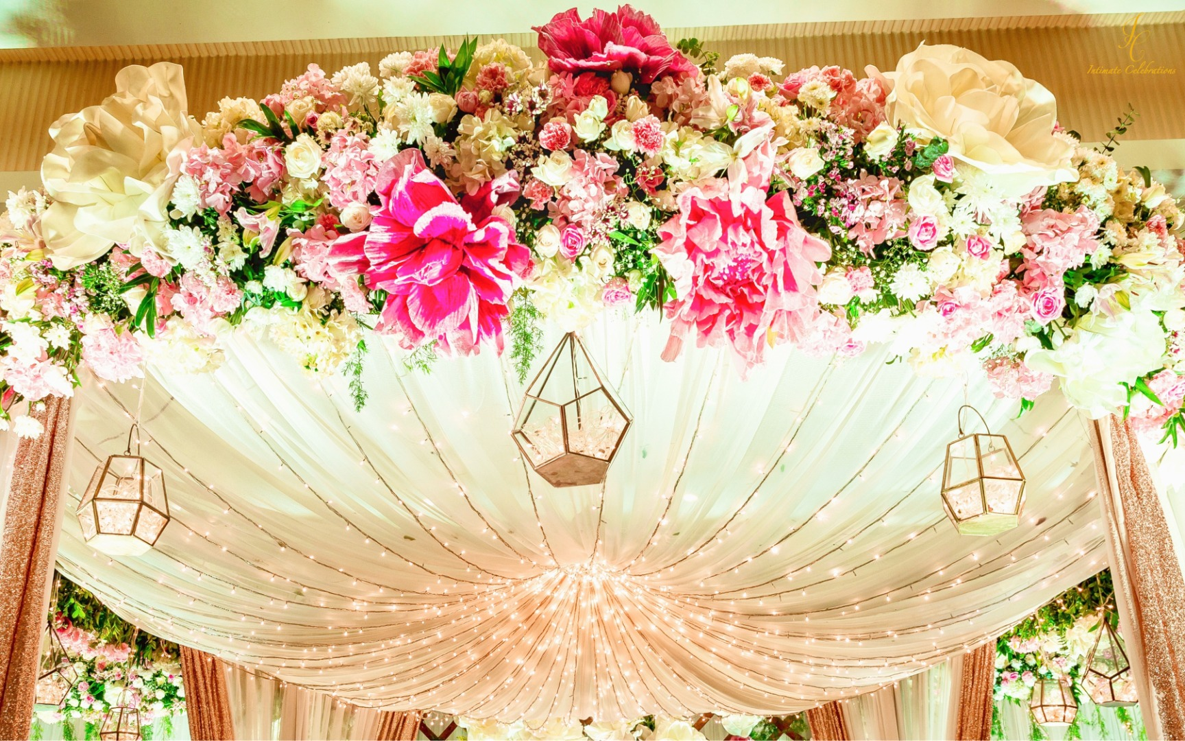 pastel pink decor with floral ceiling