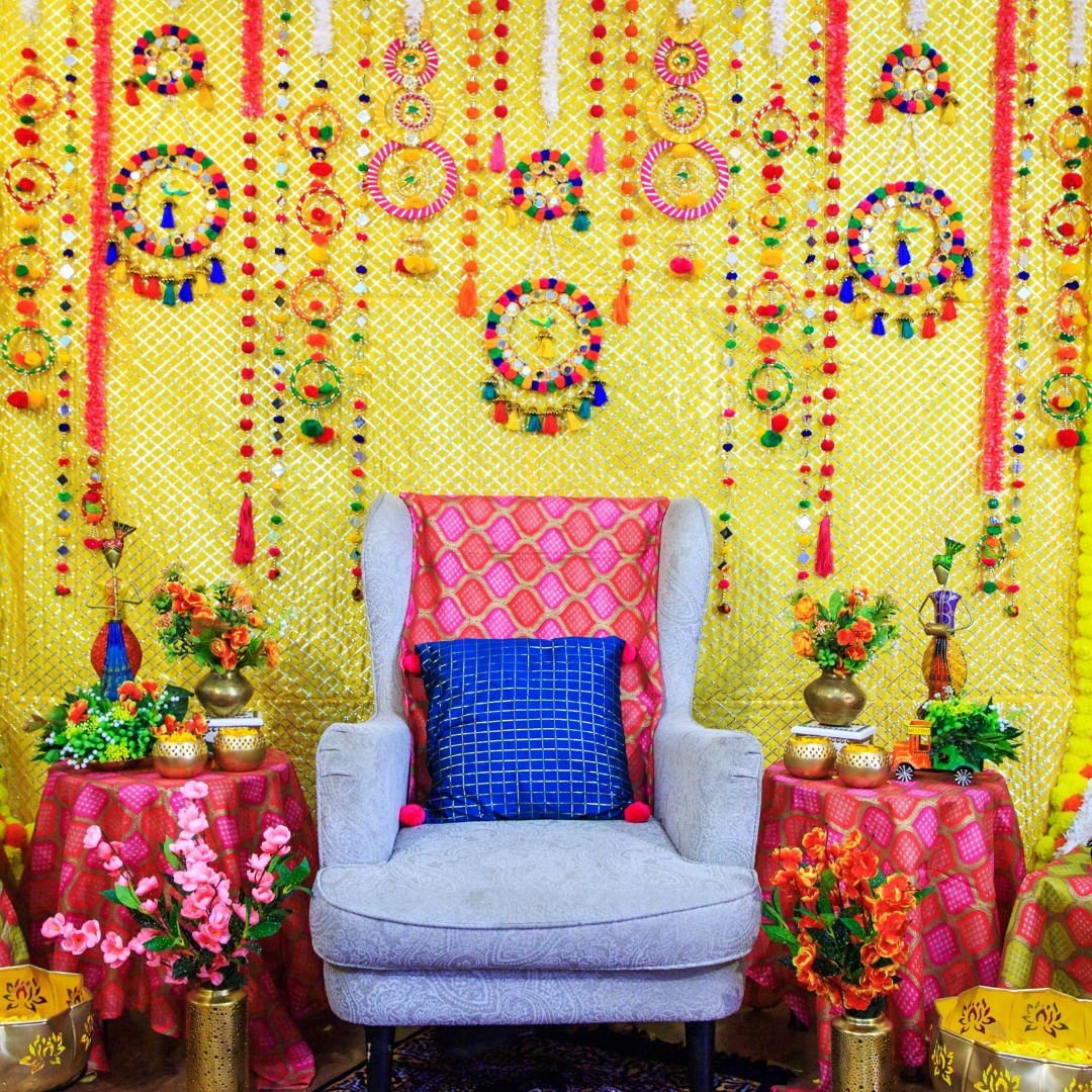 quirky yellow and pink pre wedding ritual decor