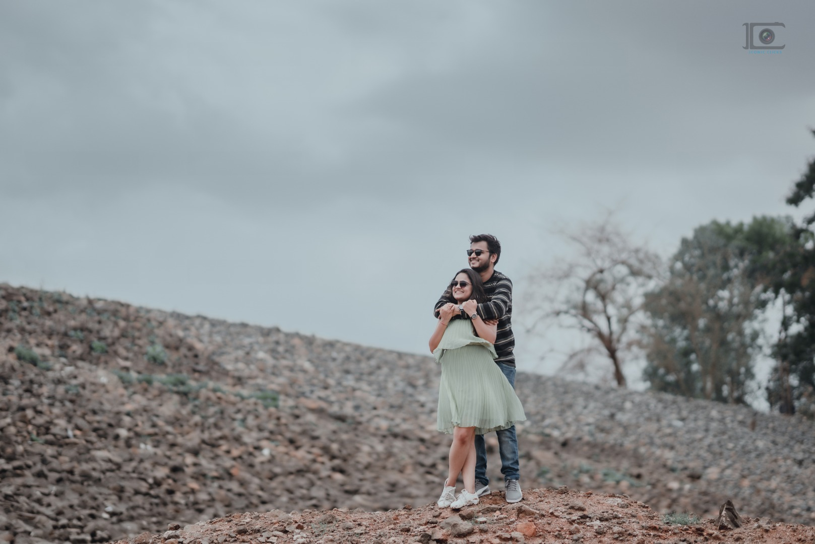 couple in modern outfits at their pre wedding shoot