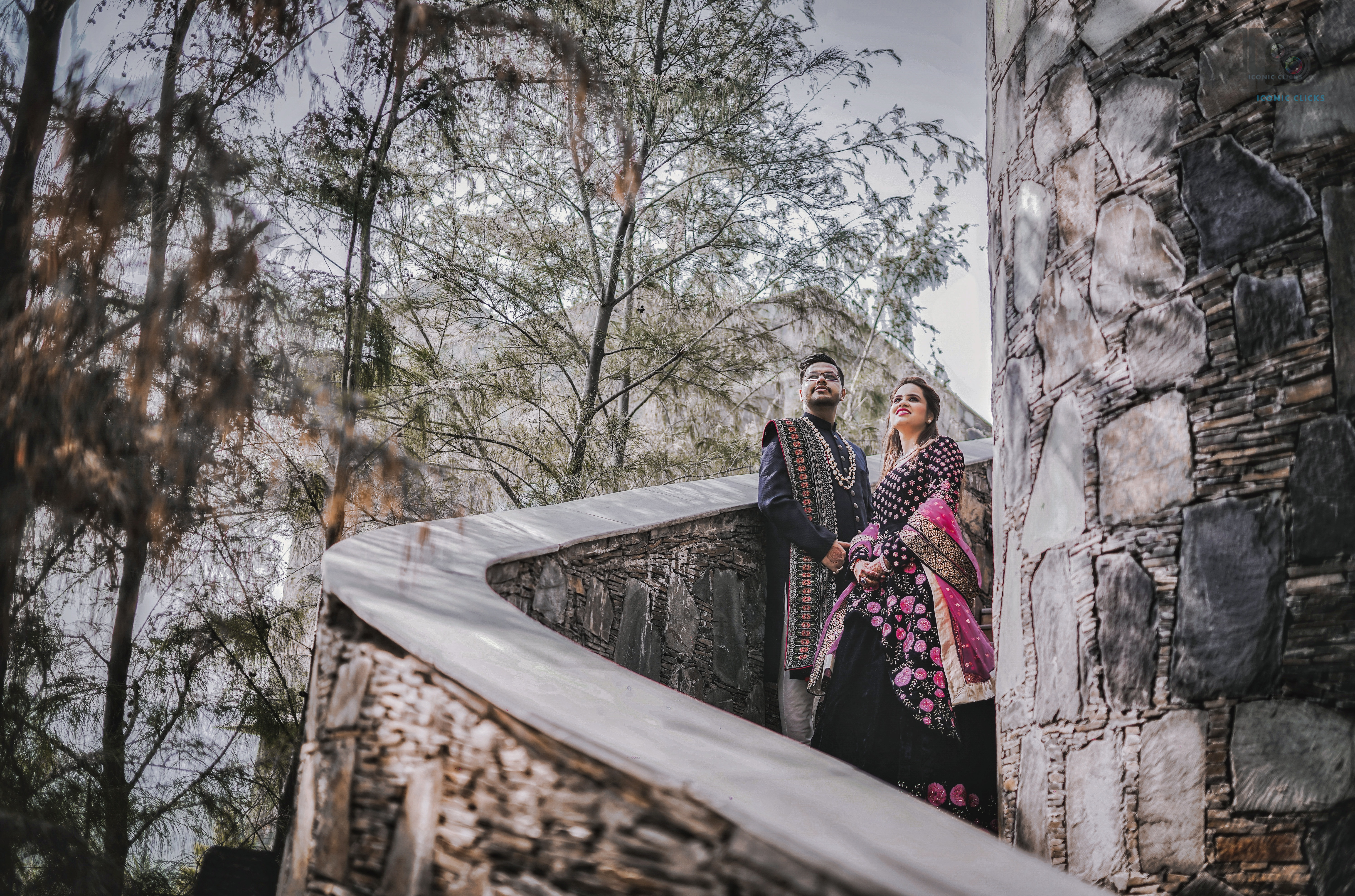 couple in traditional outfits for their pre wedding shoot