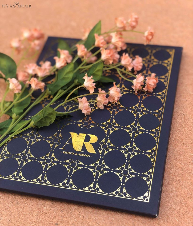 Blue & Gold Wedding Invitation Card