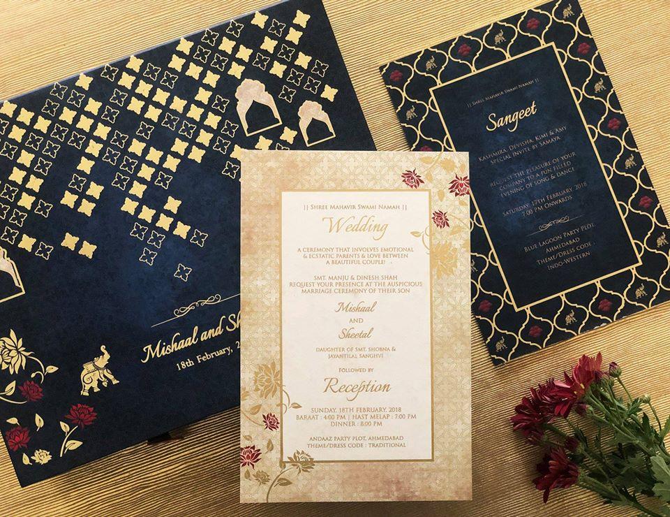 Blue & Gold Wedding Invite