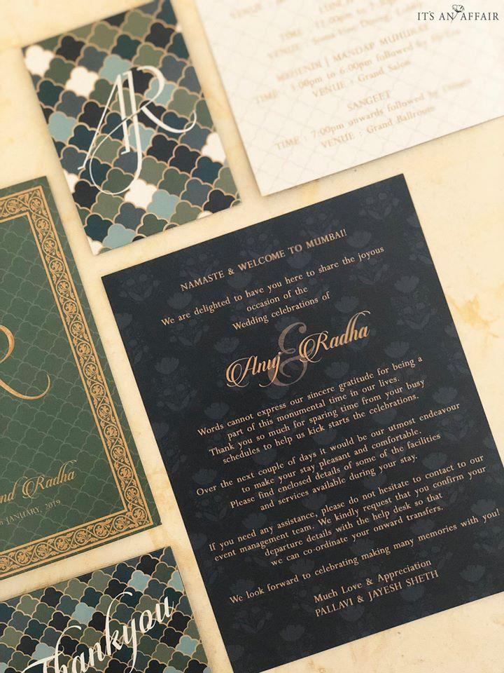 Contemporary Green & Grey Wedding Invitation Card