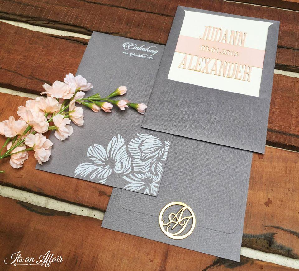 Elegant Pink & Grey Wedding Invite with Couple Logo