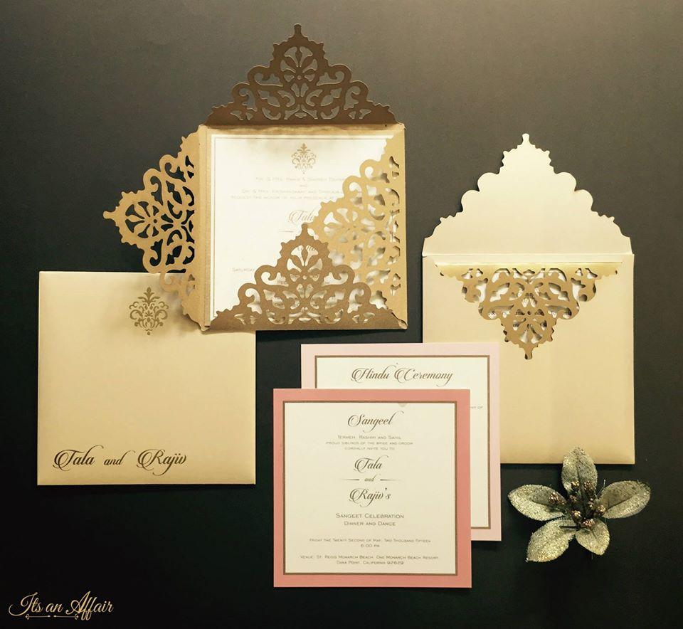 Pink & Gold Laser Cut Wedding Invitation