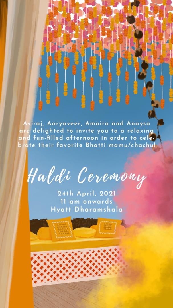 yellow and pink haldi invitation card