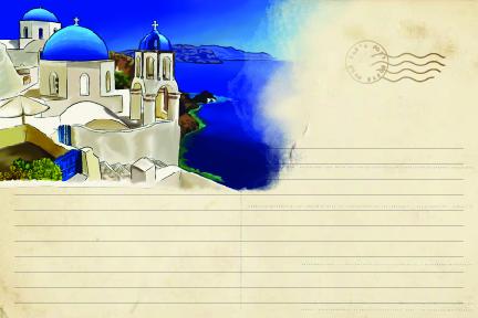 Greece illustrated postcard