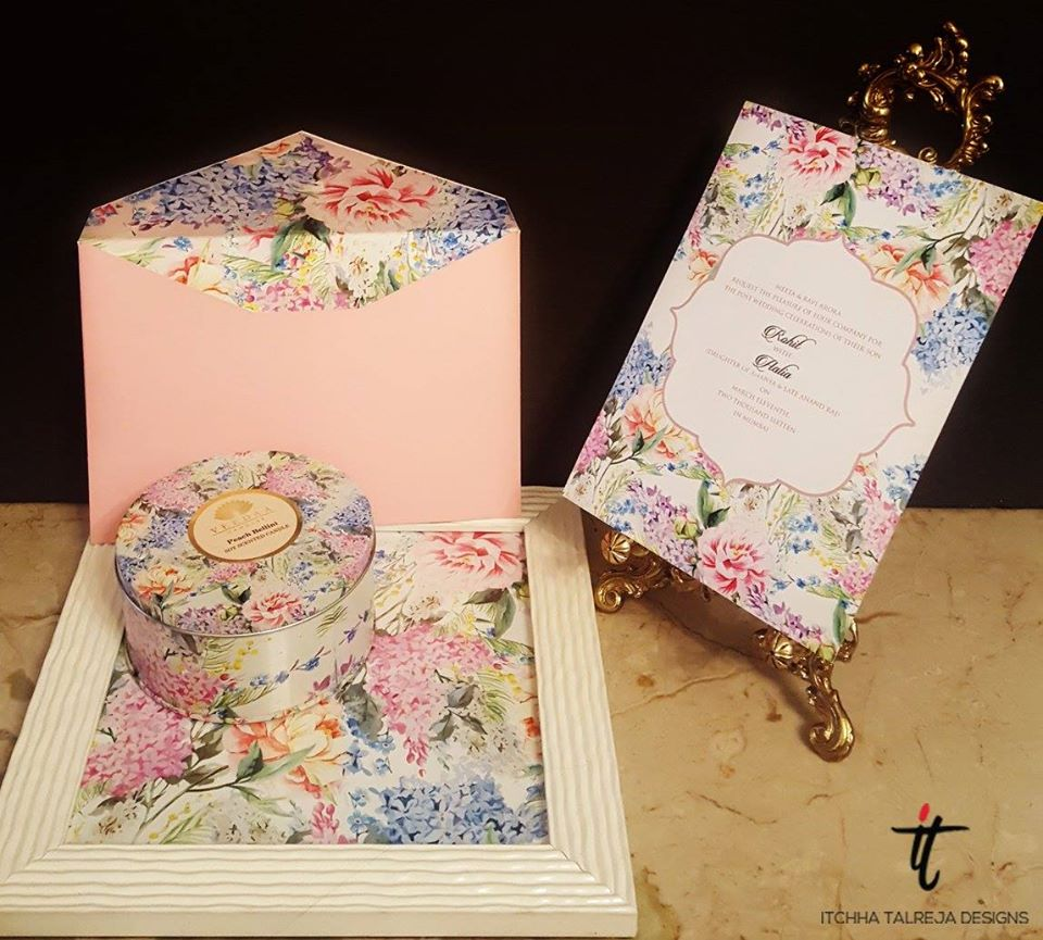 Boxed Pink Floral Wedding Invitation with Scented Candle & Tray