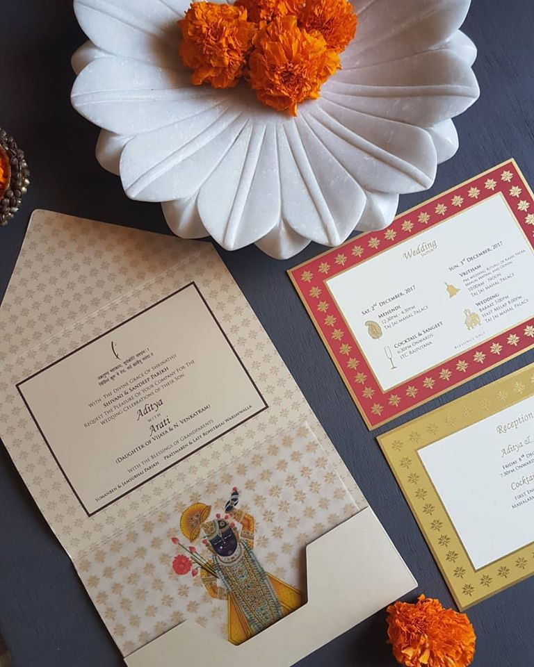 Traditional Shreenathji Theme Colorful Wedding Invite