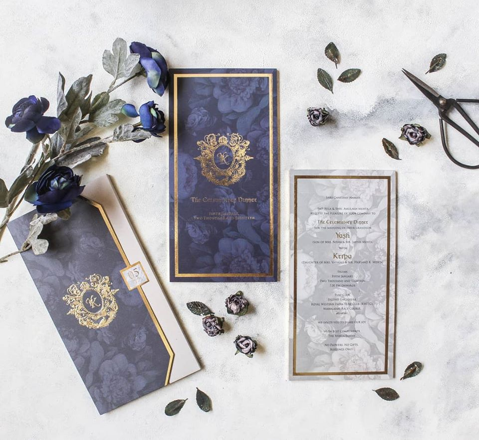 Royal Blue Floral Wedding Card Invites