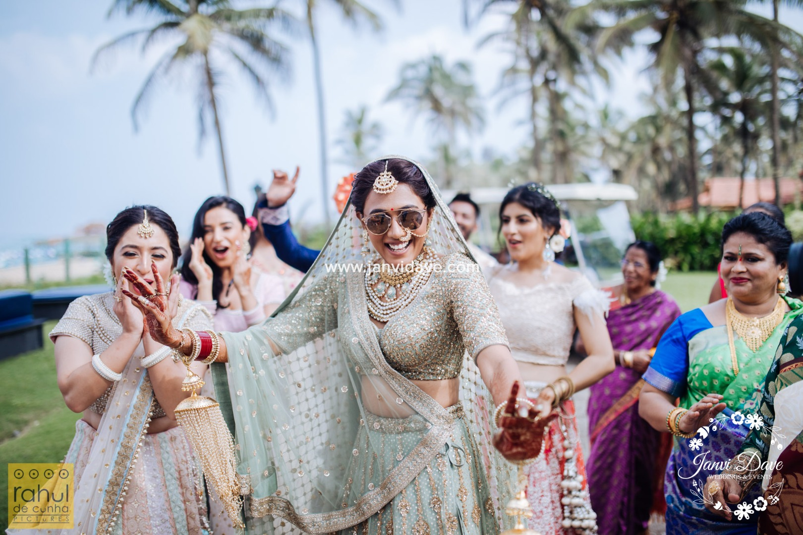 bride dances with her friends