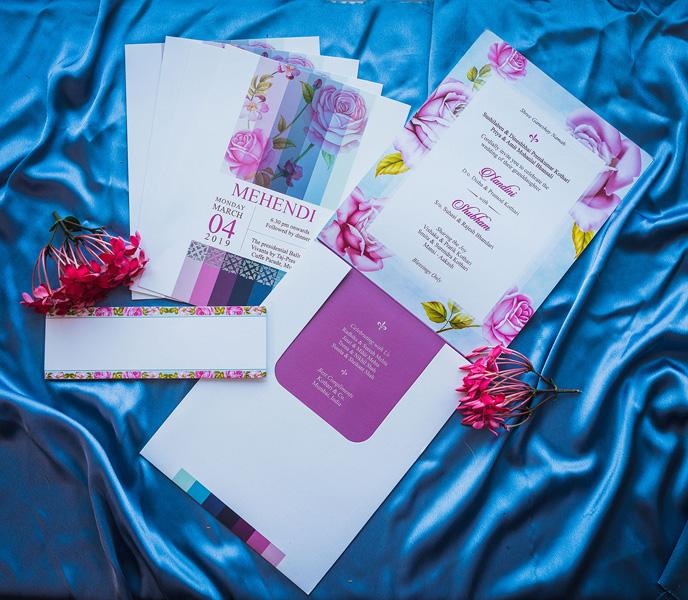 Lavender Floral Printed Wedding Card
