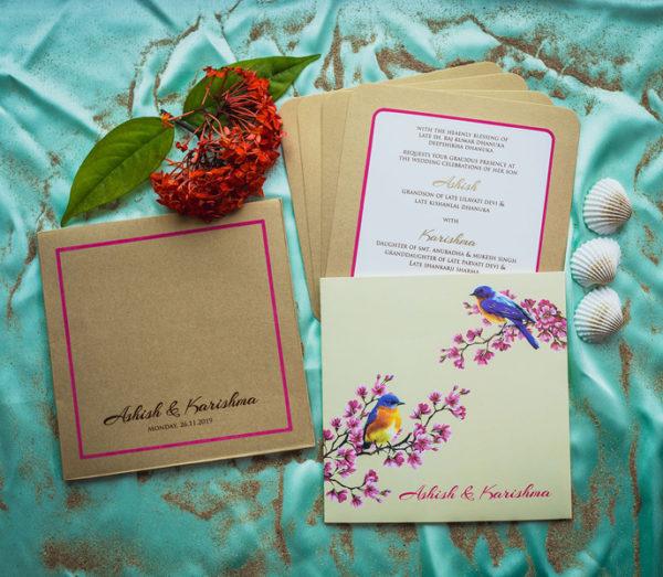 Minimal Bird Print Wedding Card