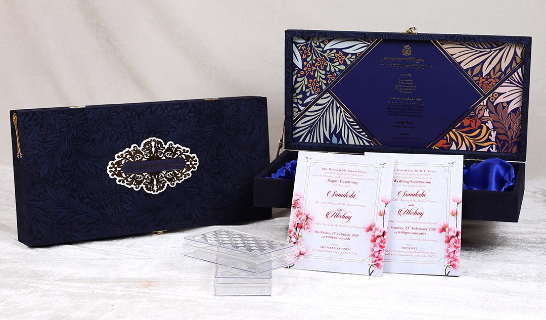 Royal Blue Floral Pattern Printed Boxed Wedding Invitation