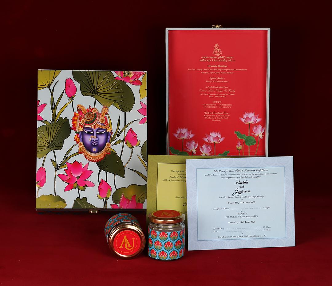 Shreenathji Theme Hindu Boxed Wedding Invitation