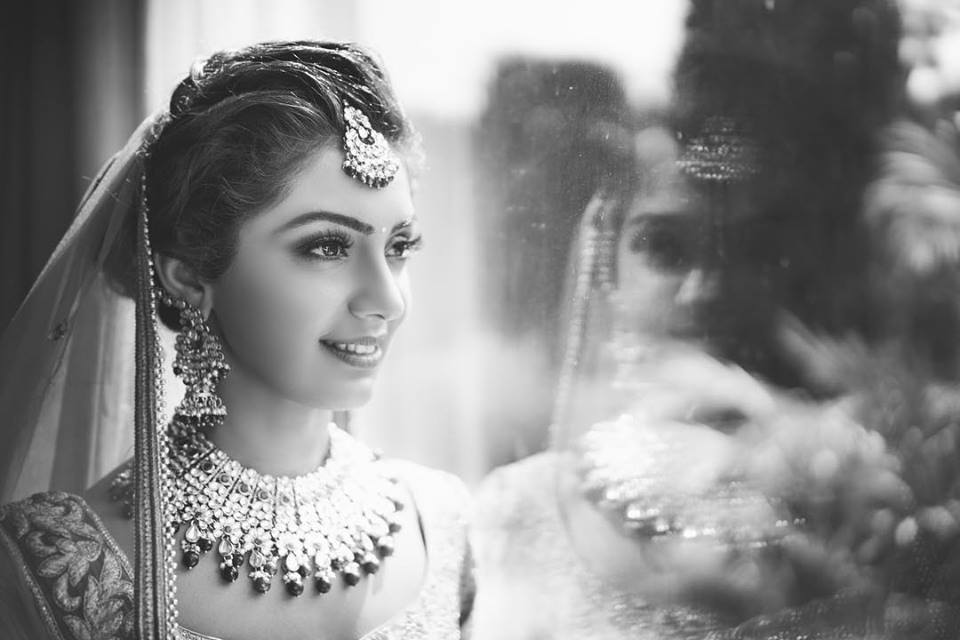 Black and White Bridal Shot