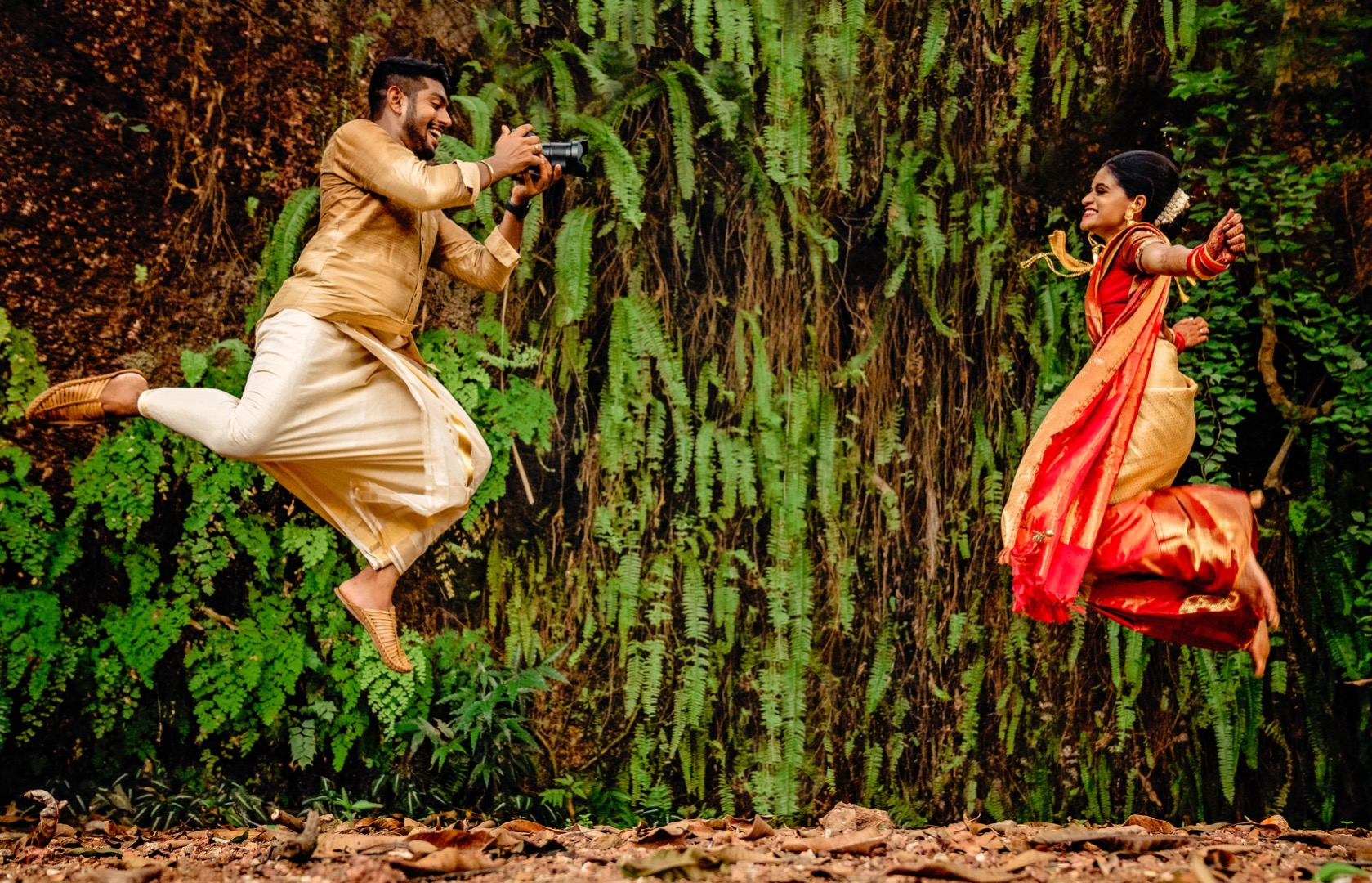 aesthetic shot of the south indian couple