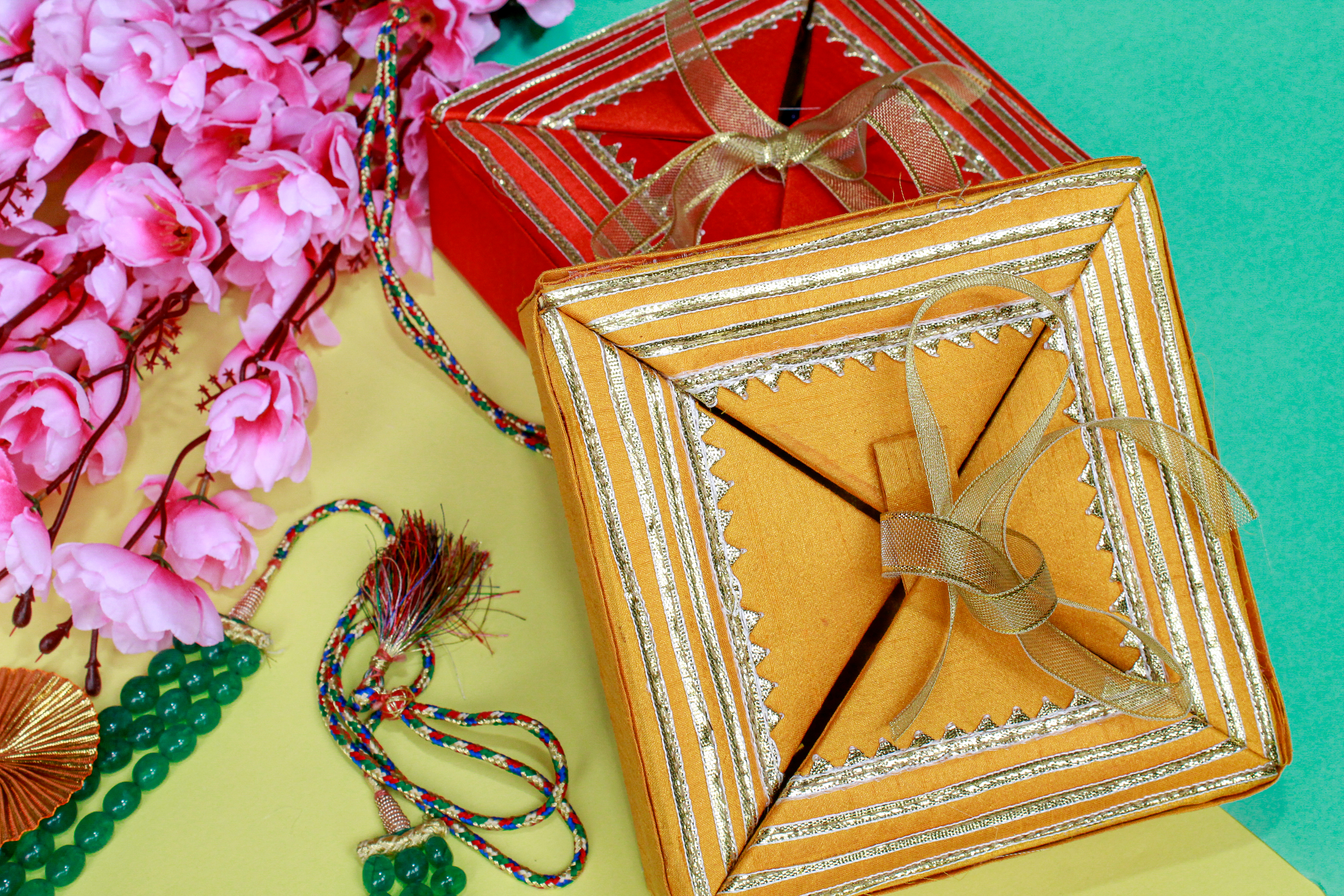 yellow and red gift box