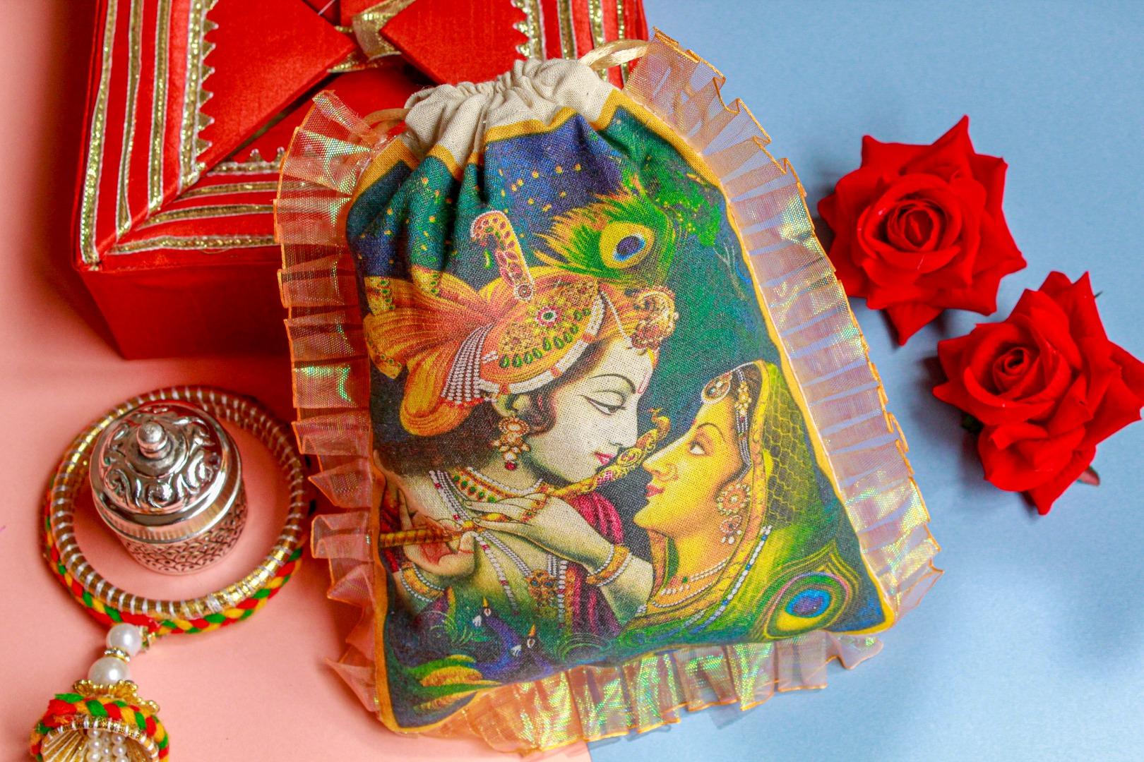 radha krishna printed gift pouch