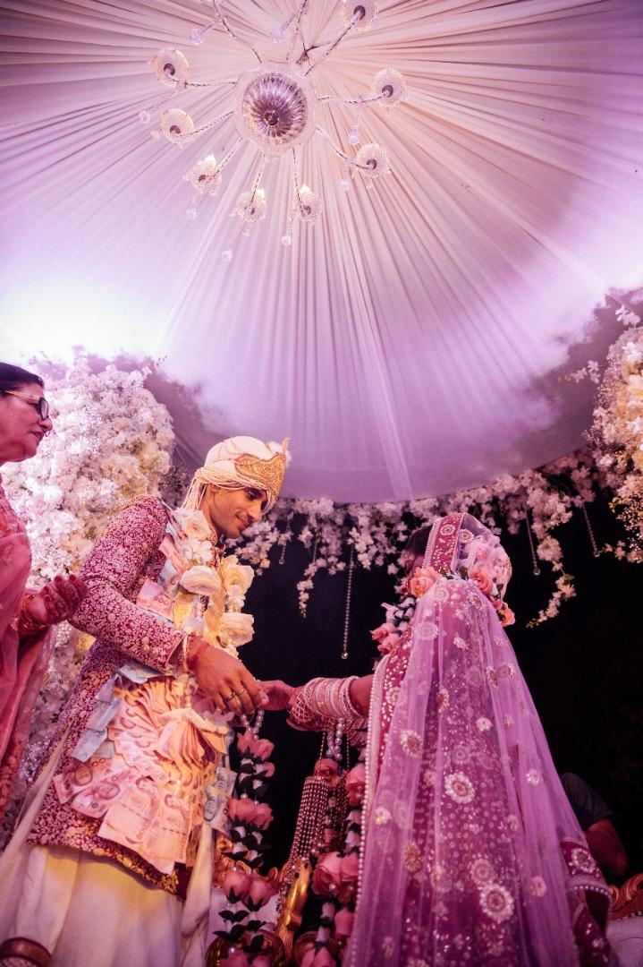 Beautiful bride and groom during pheras