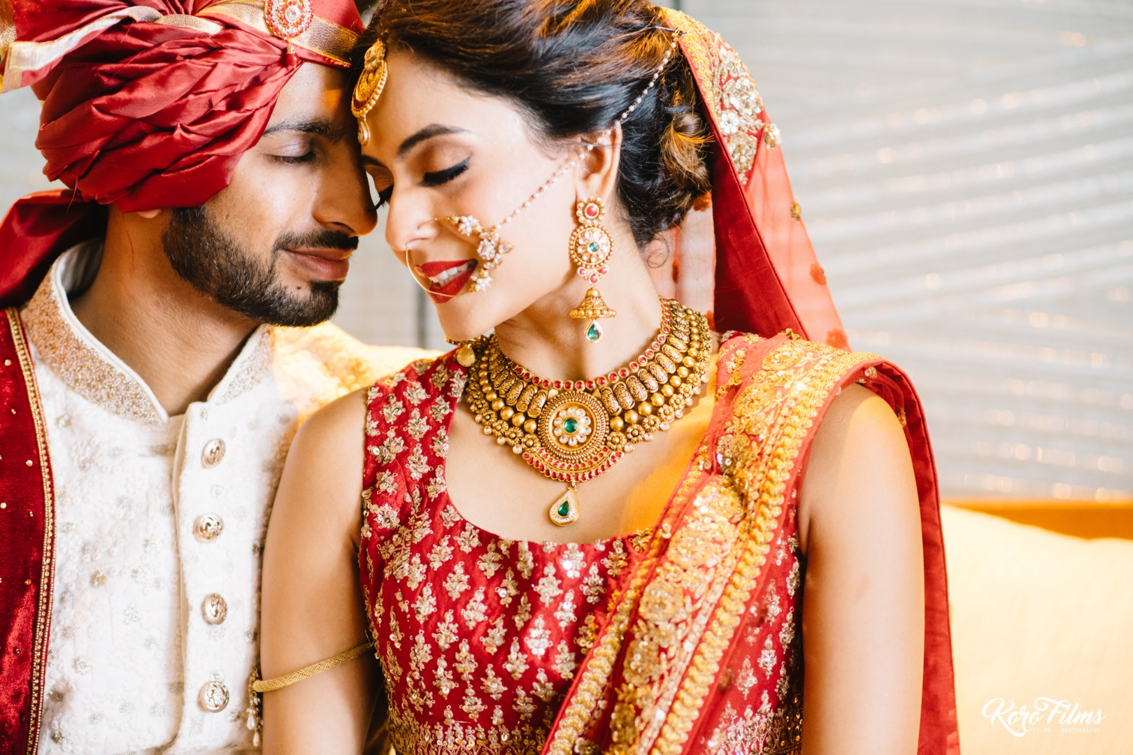 Beautiful couple poses for newly weds