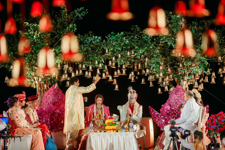 Jungle Theme Mandap Decor with Bells Indian Wedding Photography