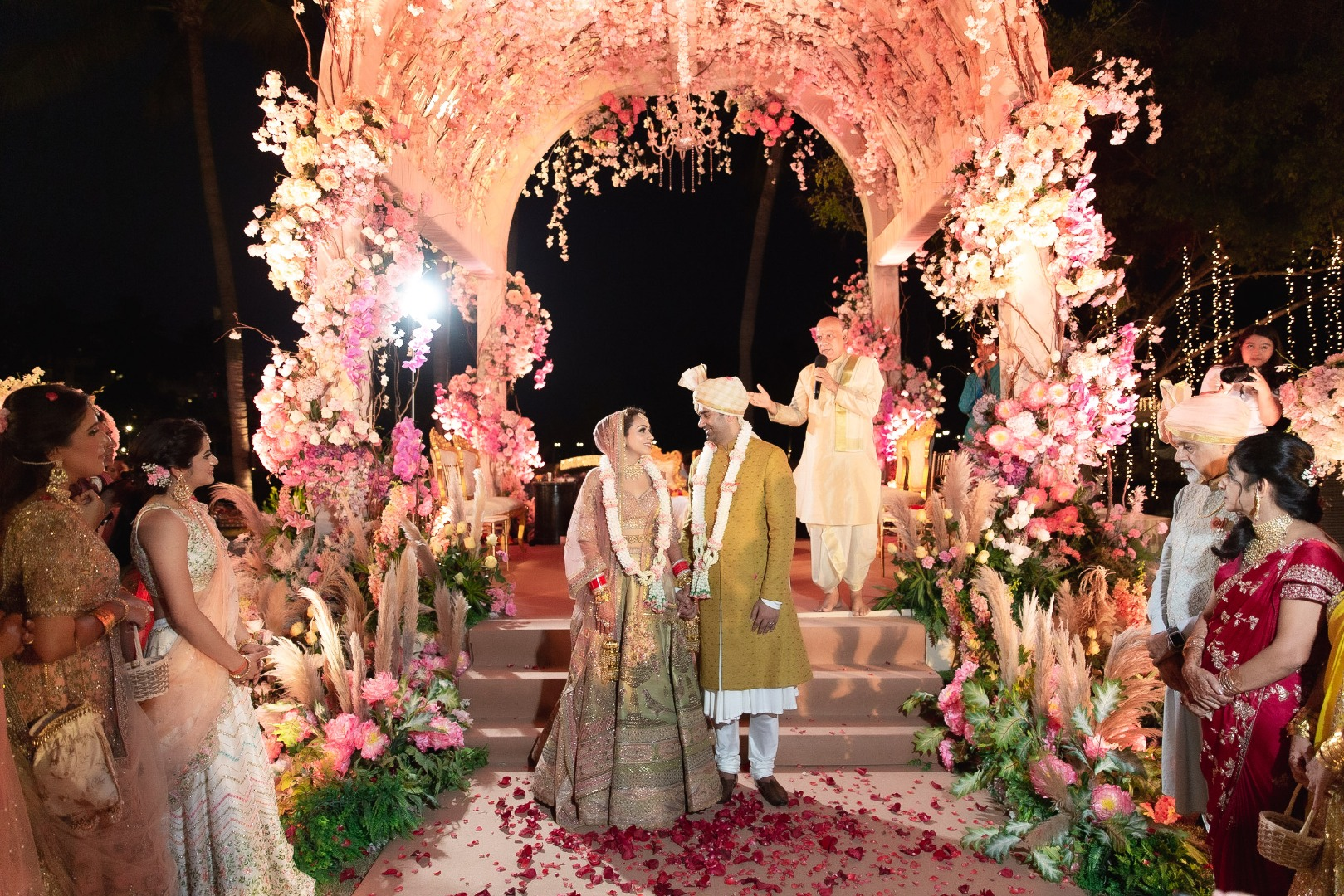 Indian Wedding Couple Post Wedding Picture and a Dreamy Floral Mandap