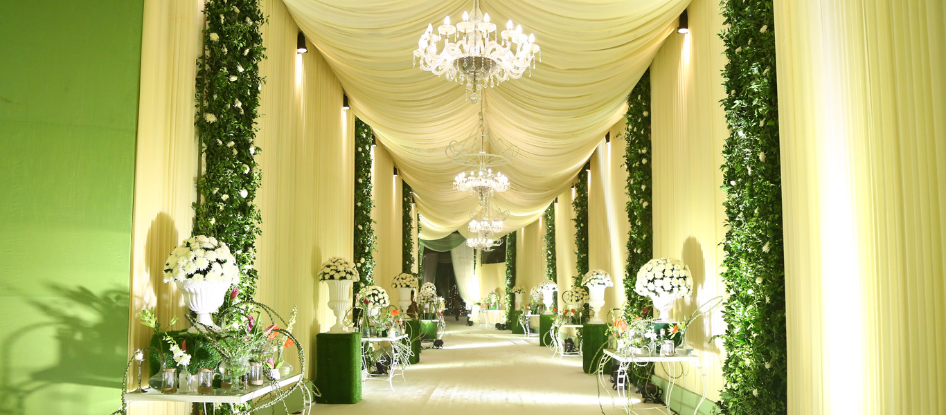 wedding entrance gate decoration with white florals