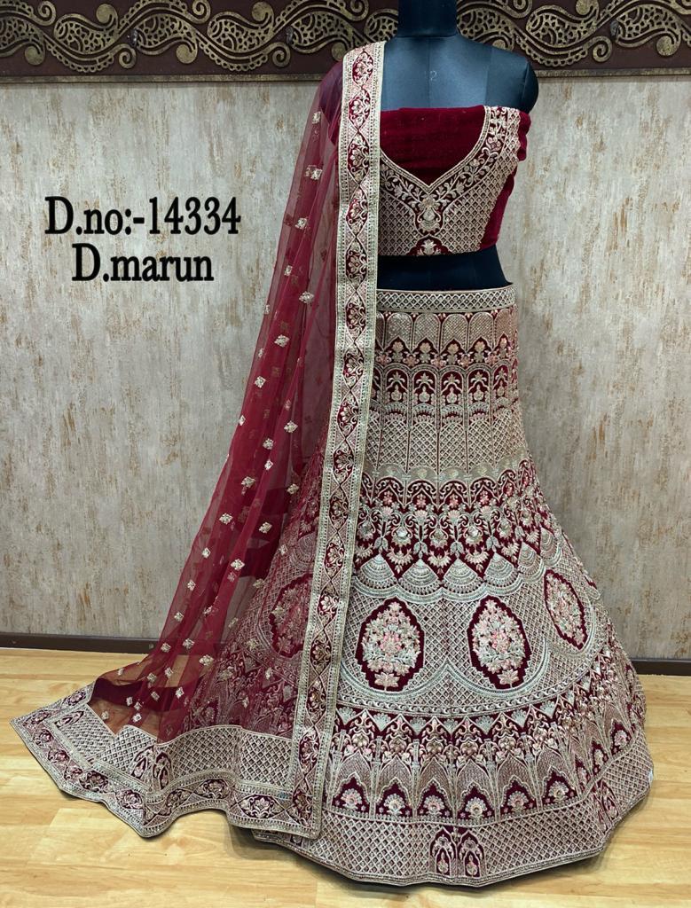maroon bridal lehenga