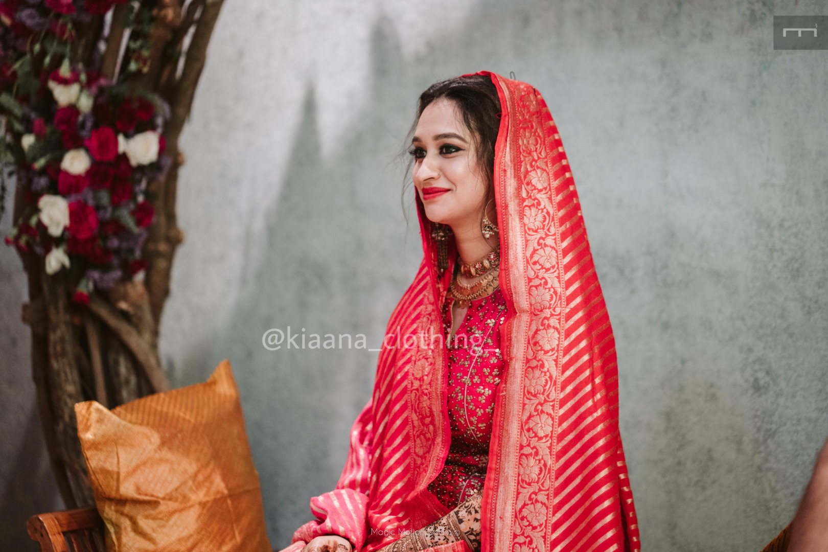 bride in red outfit