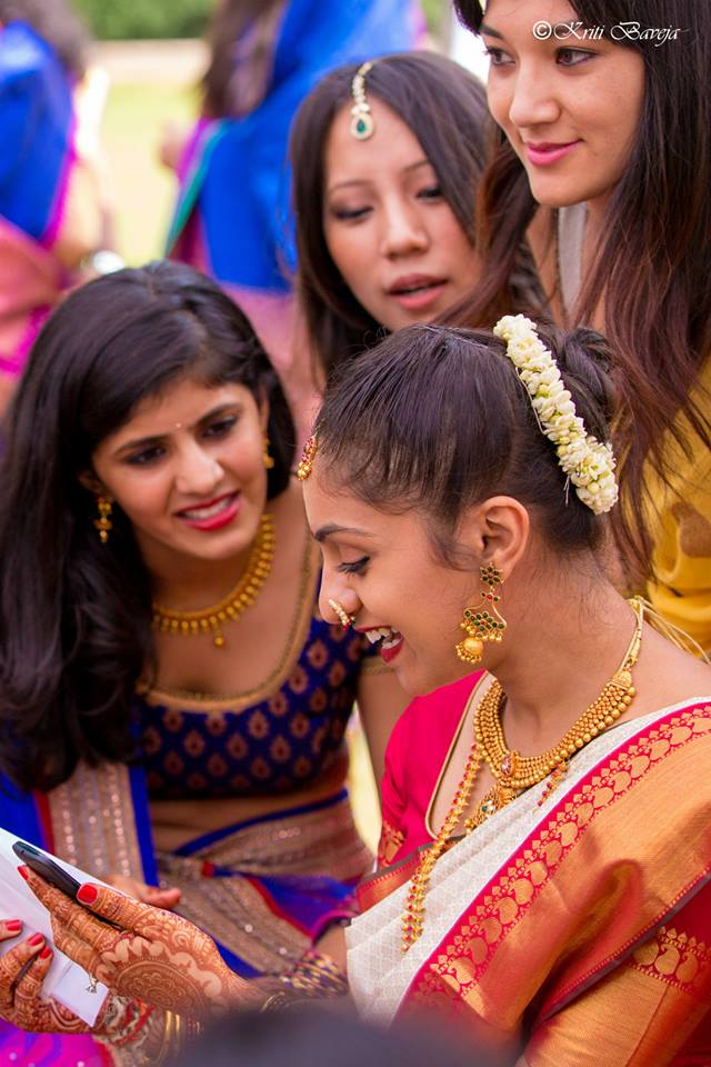 South Indian Bride with her Bridesmaids