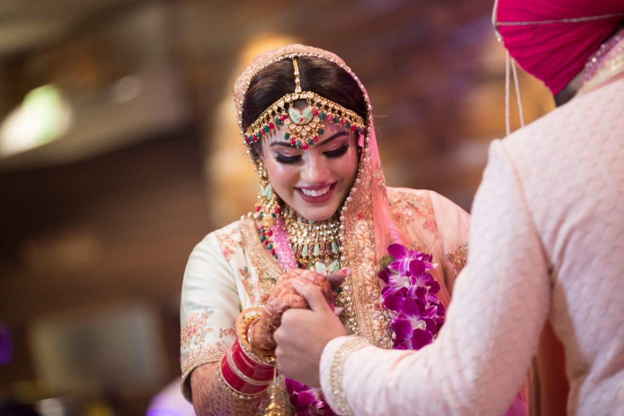 Bride in Pink Lehenga Neutral Makeup