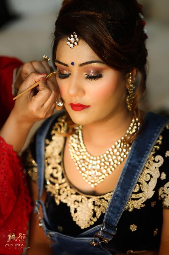 Glitter Eye Makeup & Red Lips