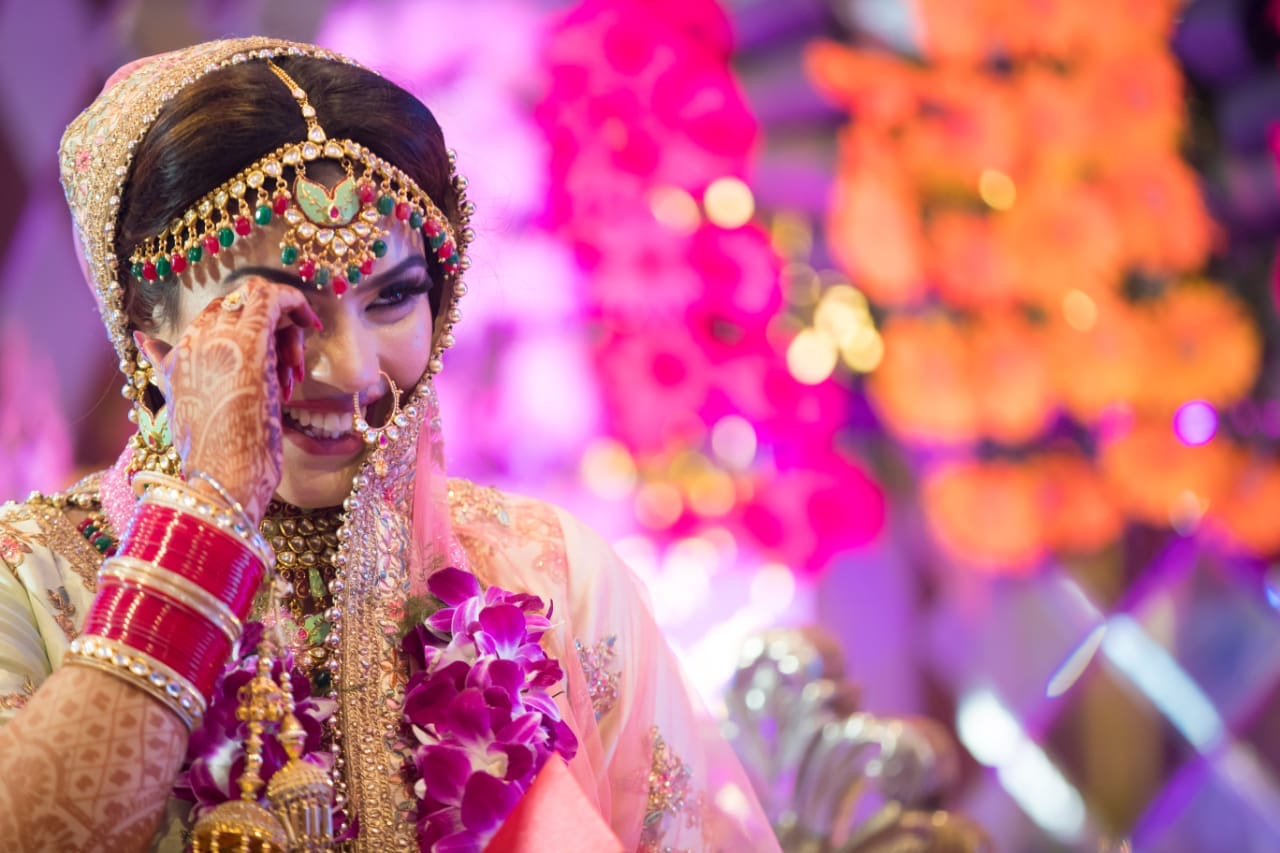 Laughing Bride in Pink