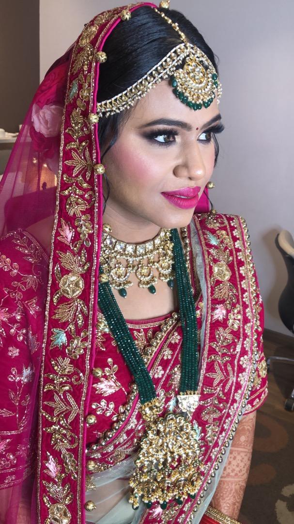 Pink Bridal Makeup & Green Jewellery