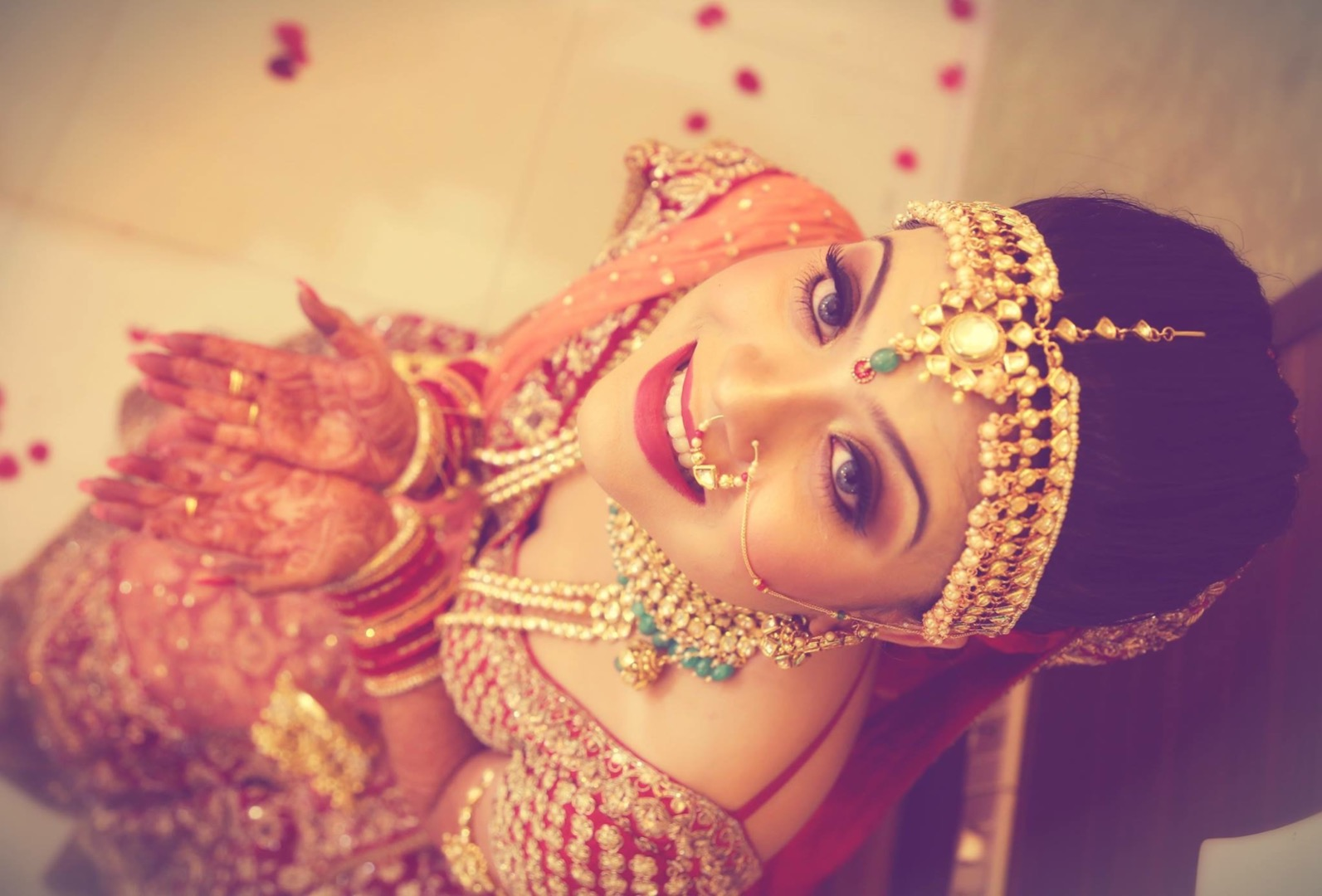 Beautiful Natural Bridal Makeup with Red Bridal Outfit