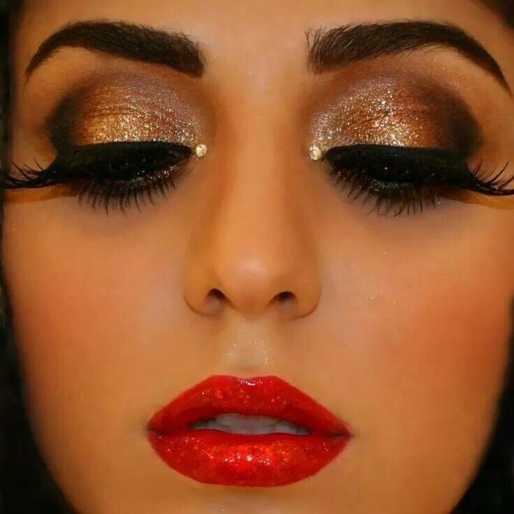 Glitter Eyes & Red LIps