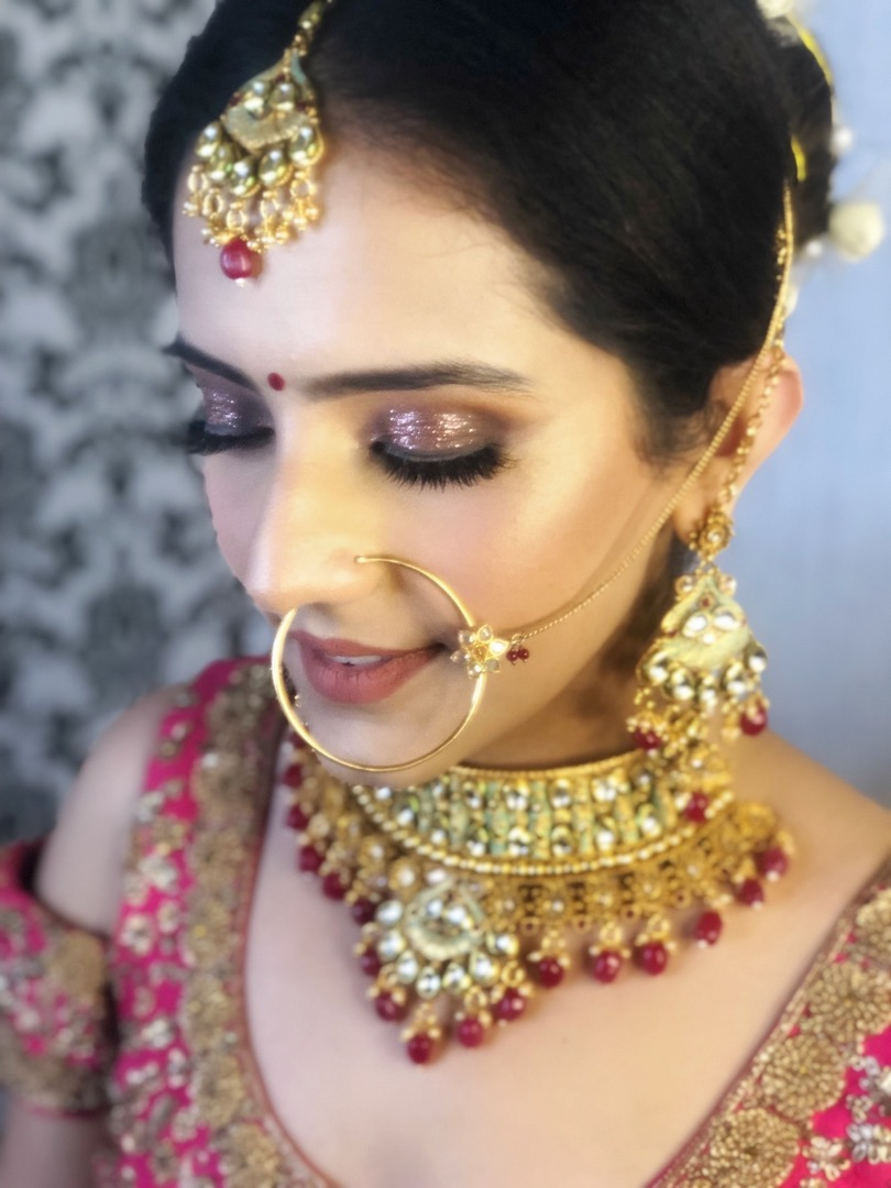 Glitter Eyes for Bridal Makeup with Red Lehenga