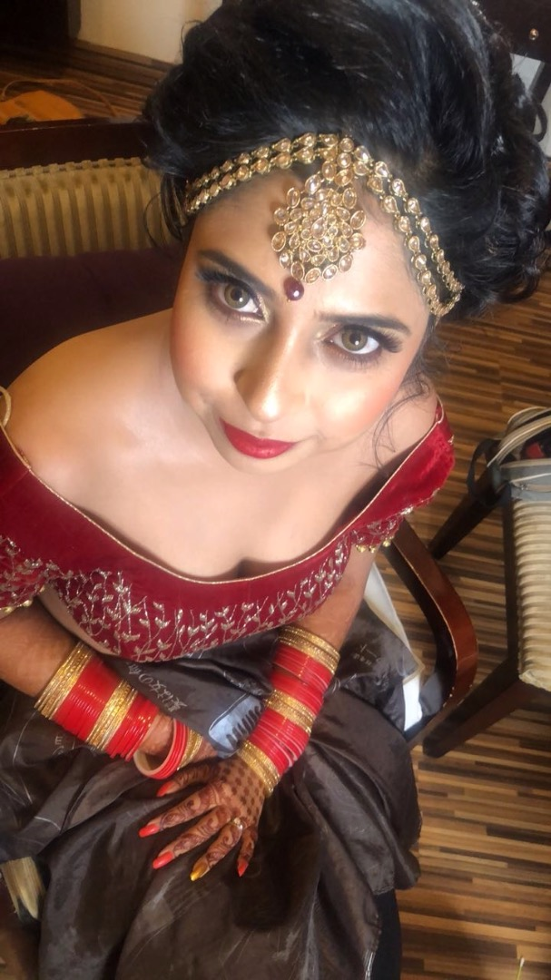 Red Bridal Makeup & Hairstyle