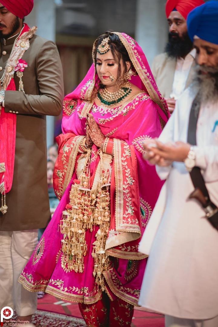 Beautiful Sikh Bride in Pink Lehenga