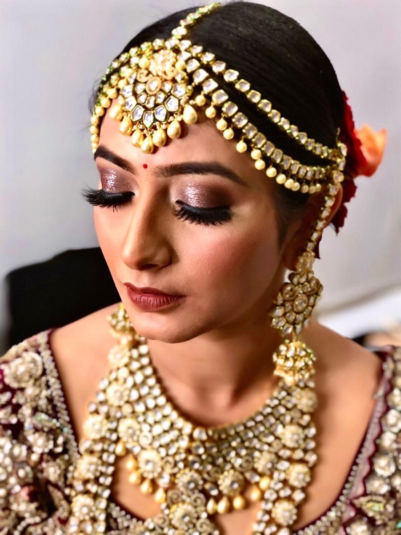 Glitter Eye Makeup with Maroon Lehenga
