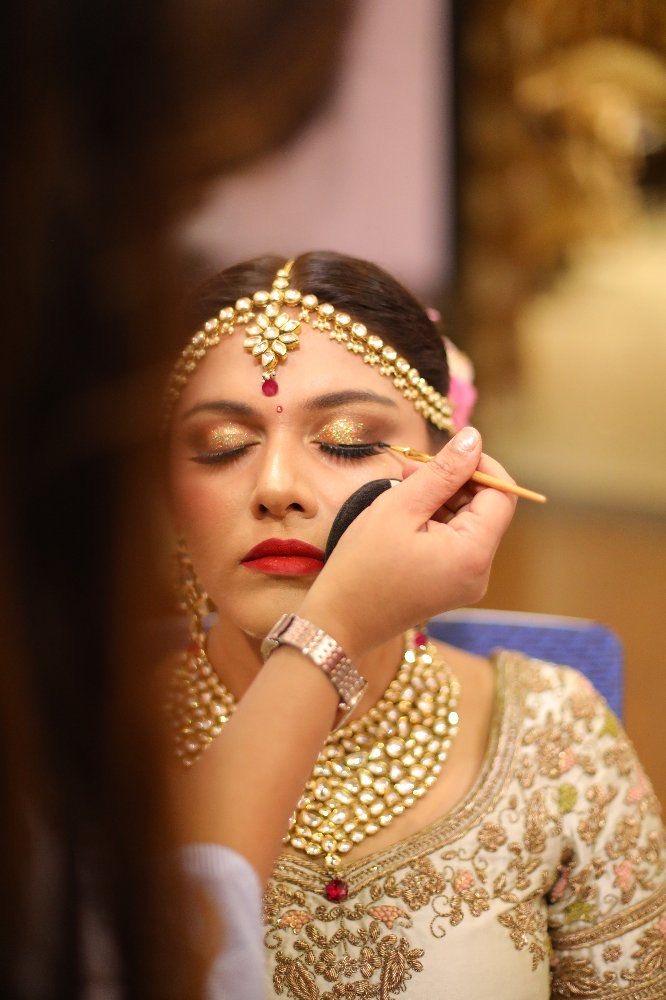Golden Eye Makeup for Ivory Lehenga