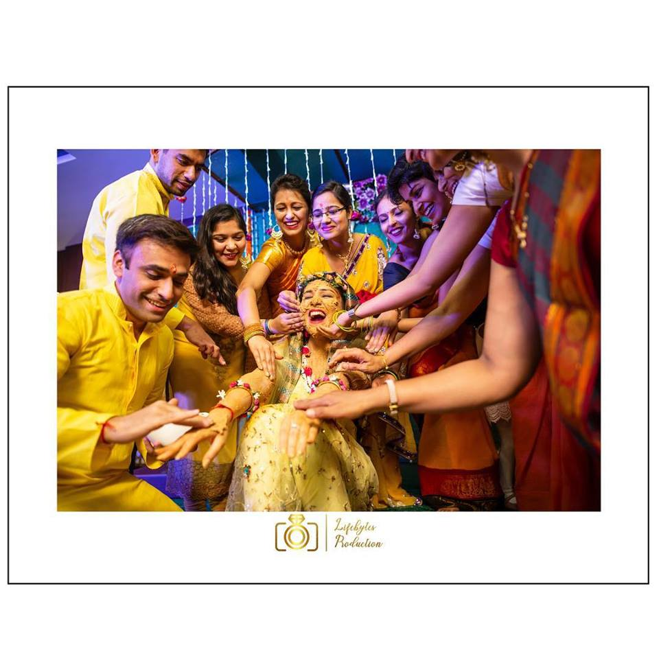 Candid Haldi Shot with Family Members